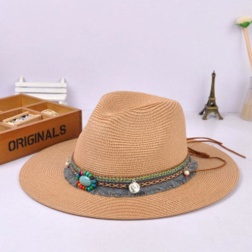 Bohemia Style Vintage With Wide Birm Straw Hats | Bridelily - light coffee - straw hats