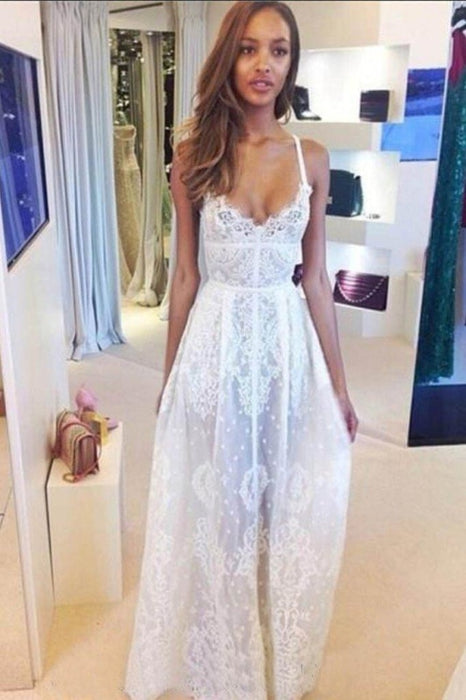 Boho White Spaghetti Straps V-neck Lace Beach Sexy Wedding Dress - Wedding Dresses