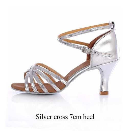 Bowknot Buckle Medium Heels Latin Dance Shoes | Bridelily - Silver cross 7cm / 4.5 - latin dance shoes