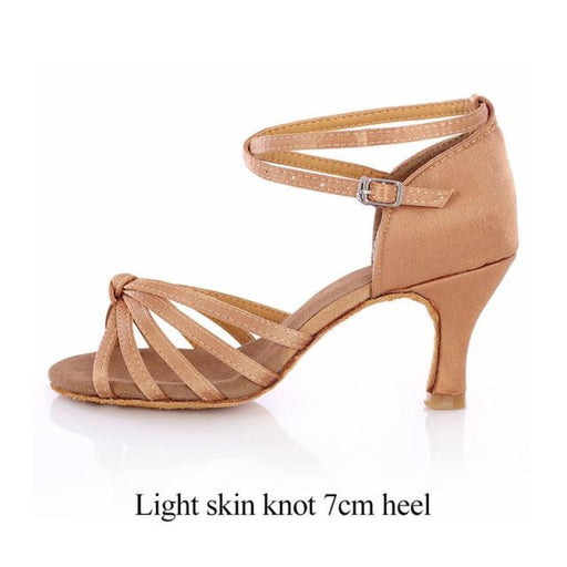 Bowknot Buckle Medium Heels Latin Dance Shoes | Bridelily - Light skin knot 7cm / 4.5 - latin dance shoes