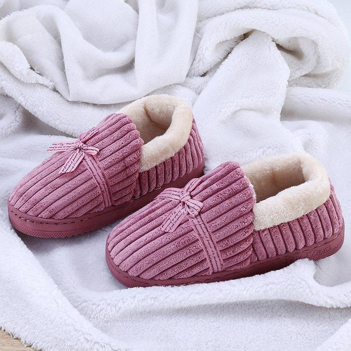 Bowknot Decoration Suede Warm Lining Soft Home Shoes - Wine Red / US 6 - home shoes