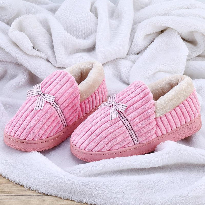 Bowknot Decoration Suede Warm Lining Soft Home Shoes - Pink / US 6 - home shoes
