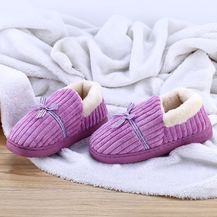 Bowknot Decoration Suede Warm Lining Soft Home Shoes - Purple / US 6 - home shoes