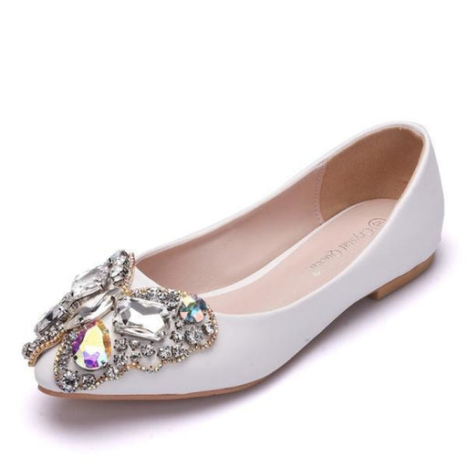 Bowknot Rhinestone Pointed Toe Wedding Flats | Bridelily - wedding flats