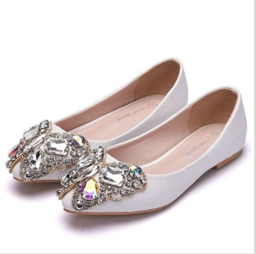Bowknot Rhinestone Pointed Toe Wedding Flats | Bridelily - WHITE / 34 - wedding flats