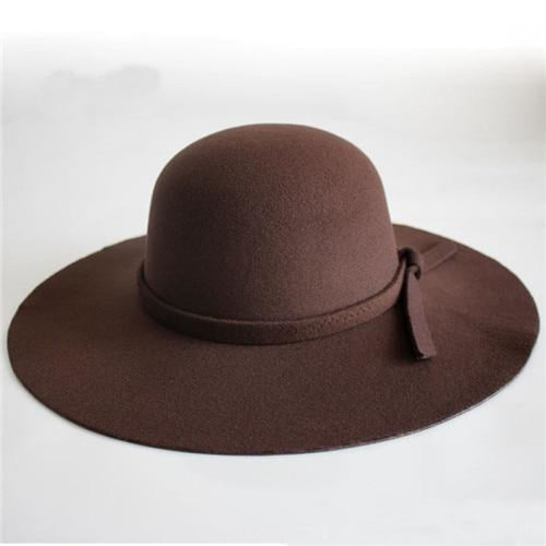 Bowknot Wide Brim Wool Felt Bowler/Cloche Hats | Bridelily - Brown / One Size - bowler /cloche hats