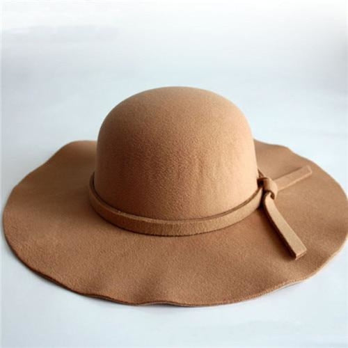 Bowknot Wide Brim Wool Felt Bowler/Cloche Hats | Bridelily - Camel / One Size - bowler /cloche hats
