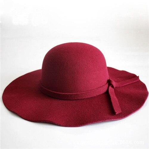 Bowknot Wide Brim Wool Felt Bowler/Cloche Hats | Bridelily - Red wine / One Size - bowler /cloche hats