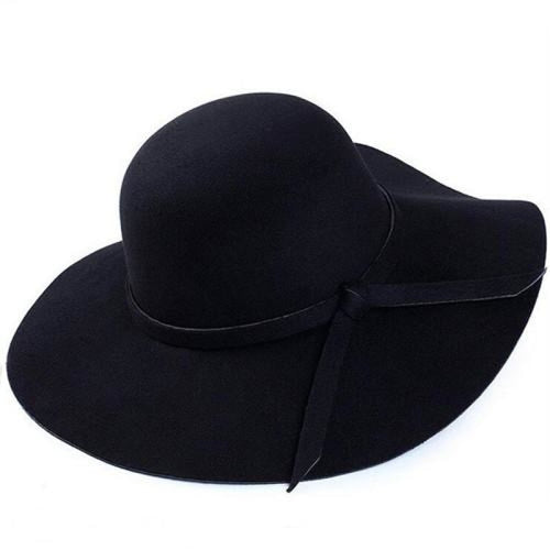Bowknot Wide Brim Wool Felt Bowler/Cloche Hats | Bridelily - Black / One Size - bowler /cloche hats