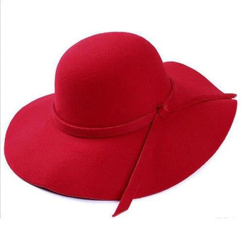 Bowknot Wide Brim Wool Felt Bowler/Cloche Hats | Bridelily - Red / One Size - bowler /cloche hats