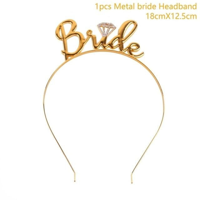 Bride to Be Satin Wedding Decorations | Bridelily - Bride headband gold - wedding decorations