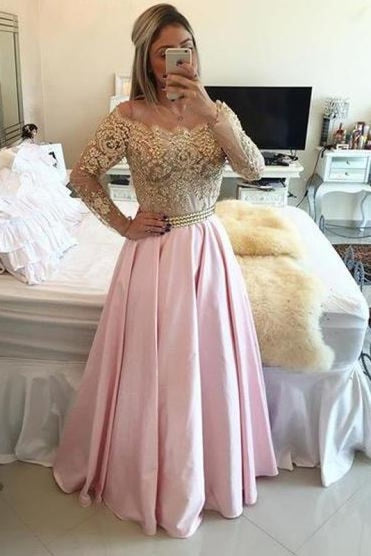 Bridelily 2019 Gold Pink Prom Dresses Long Sleeves Crystals Beaded Off the Shoulder Illusion Lace Evening Gowns Bar0020 - Prom Dresses