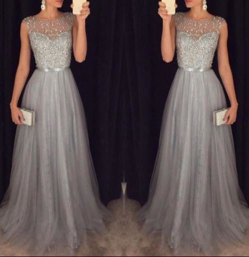 Bridelily 2019 Grey A-line Prom Dresses Beaded Long Tulle Luxury Evening Gowns - Prom Dresses