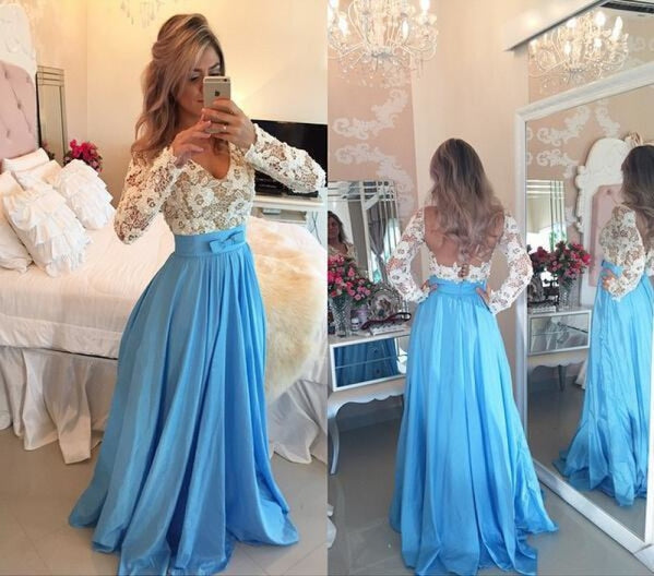 Bridelily 2019 Lace Long Sleeves Prom Dresses V Neck Sheer Open Back Beaded Evening Gowns - Prom Dresses