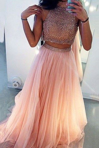 Bridelily 2019 Two Pieces Separate Long Prom Dresses High Neck Front Slit Beading Junior Formal Party Dresses - Prom Dresses