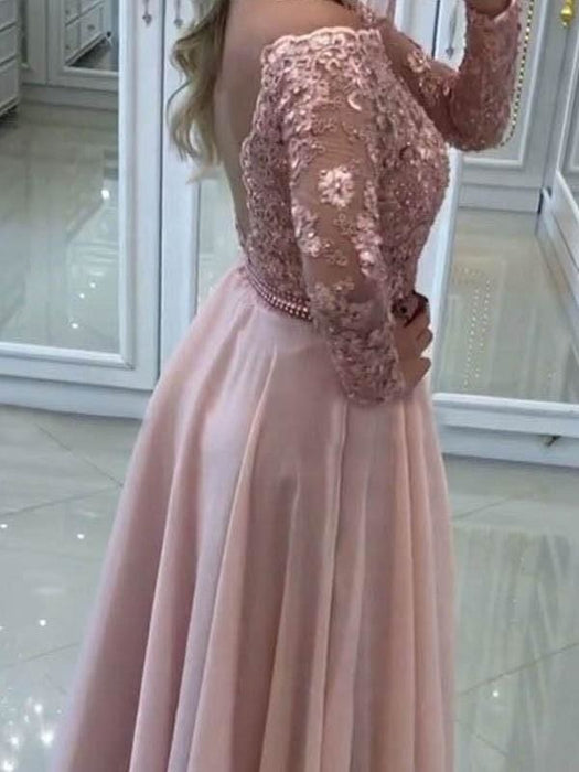 Bridelily A-Line Bateau Long Sleeves Floor-Length Lace Chiffon Dresses - Prom Dresses