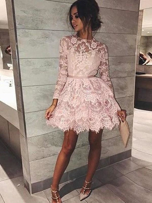 Bridelily A-Line Bateau Long Sleeves With Beading Lace Short/Mini Dresses - Prom Dresses