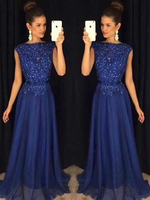 Bridelily A-Line Bateau Sleeveless Floor-Length With Applique Chiffon Dresses - Prom Dresses