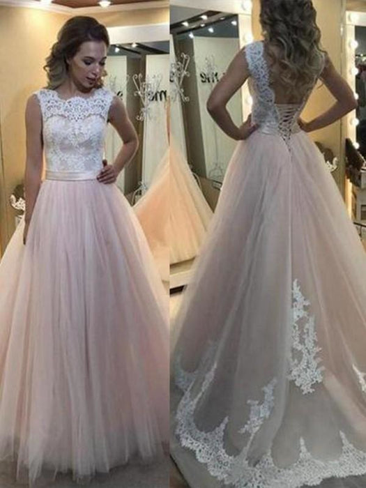 Bridelily A-Line Bateau Sleeveless Sweep/Brush Train Lace Tulle Dresses - Prom Dresses