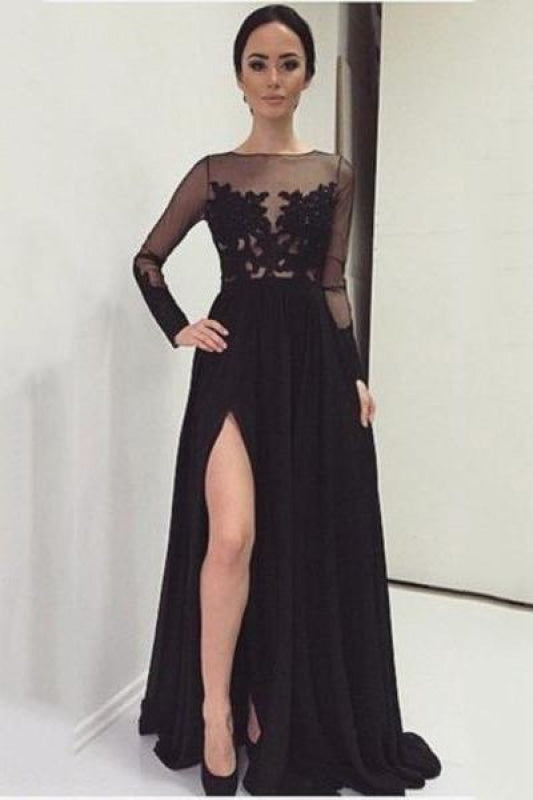 Plus Size Slit Sequined Short Long Sleeves Ball Gown Evening Dress/Prom Dress with a Brush/Sweep Train