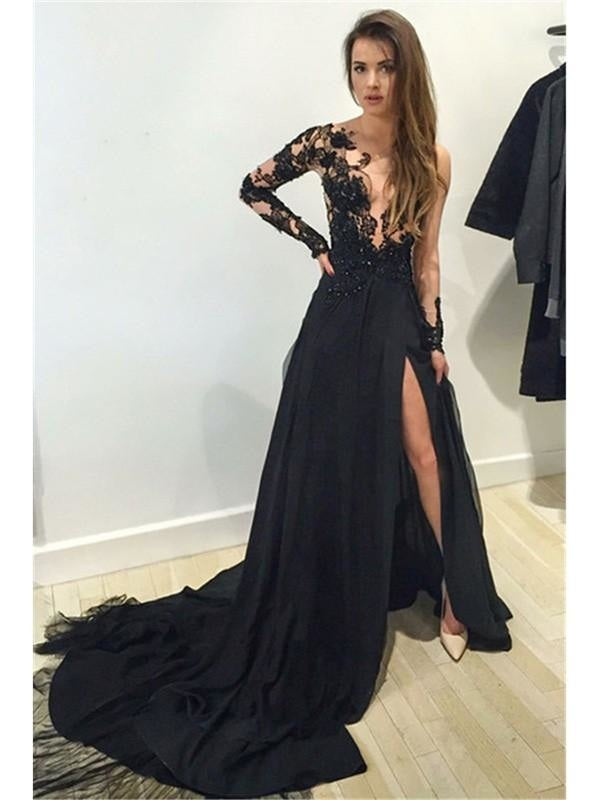 Bridelily A-Line Chiffon Bateau Long Sleeves Court Train With Lace Dresses - Prom Dresses