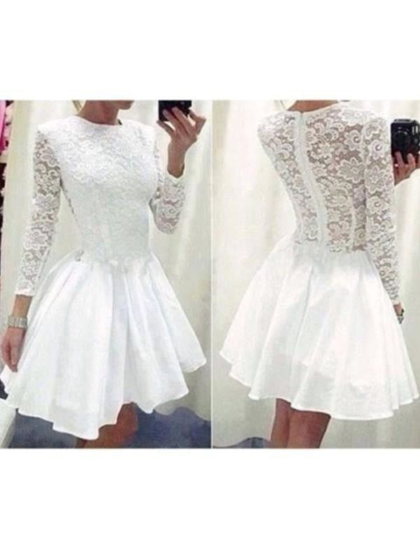 Short Fit-and-Flare Fitted Long Sleeves Bodycon Dress/Prom Dress