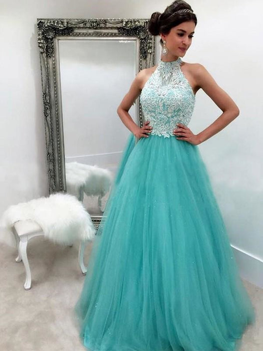 Bridelily A-Line Halter Sleeveless Floor-Length Lace Tulle Dresses - Prom Dresses