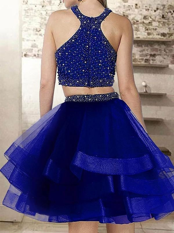 Bridelily A-Line Halter Sleeveless Short/Mini With Beading Organza Dresses - Prom Dresses