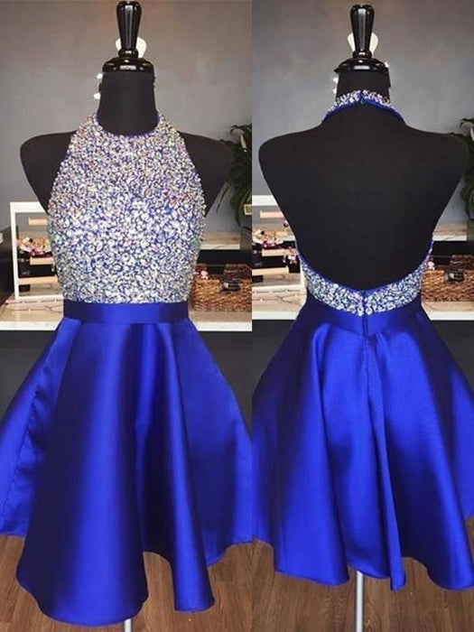 Bridelily A-Line Halter Sleeveless Short/Mini With Beading Satin Dresses - Prom Dresses
