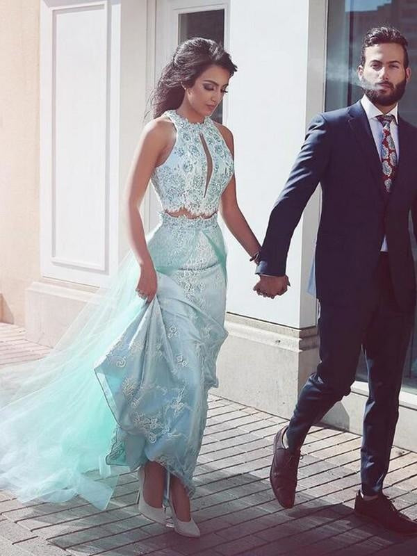 Modest Mermaid Sequined Long Sleeves Sleeveless Halter High-Neck Evening Dress/Prom Dress with a Brush/Sweep Train