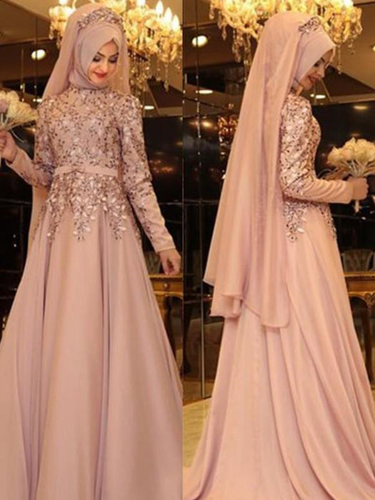 Bridelily A-Line High Neck Long Sleeves Floor-Length With Beading Chiffon Dresses - Prom Dresses