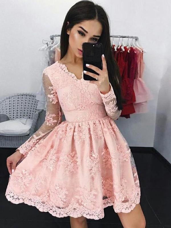 Bridelily A-Line Lace Long Sleeves With Applique V-neck Short/Mini Dresses - Prom Dresses