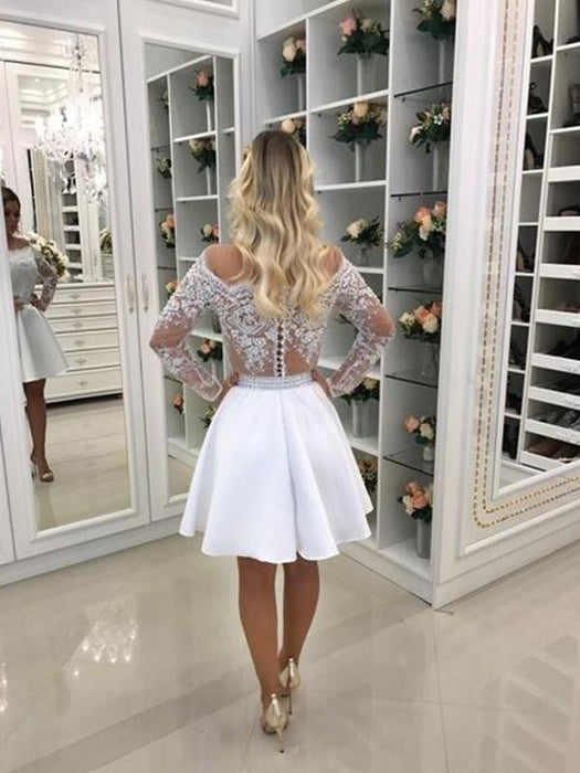 Bridelily A-Line Long Sleeves Off-the-Shoulder Chiffon With Beading Short/Mini Dresses - Prom Dresses