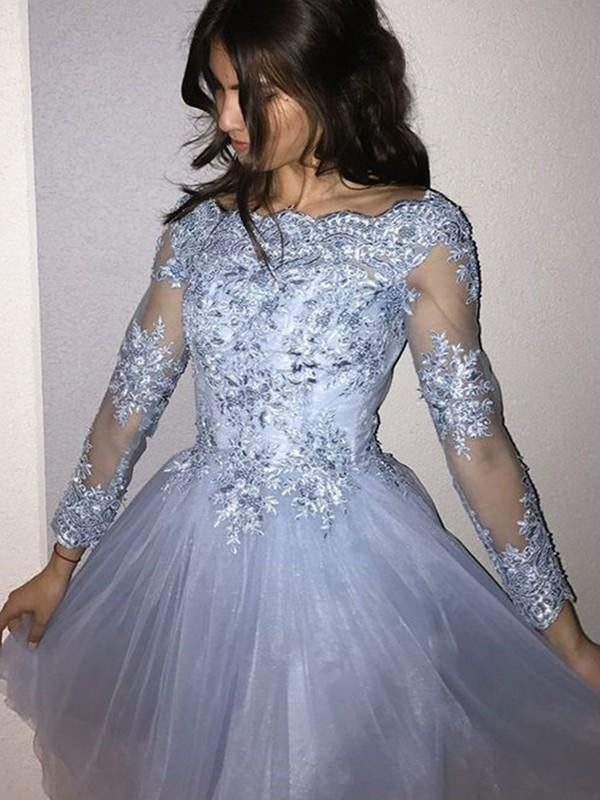 Plus Size Petite Strapless Applique Long Sleeves Short Ball Gown Evening Dress/Prom Dress