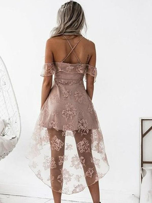 Bridelily A-Line Off-the-Shoulder Lace Satin Short/Mini Dresses - Prom Dresses