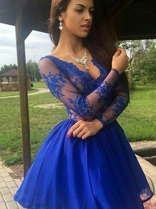 Bridelily A-Line Organza V-neck With Applique Long Sleeves Short/Mini Dresses - Prom Dresses