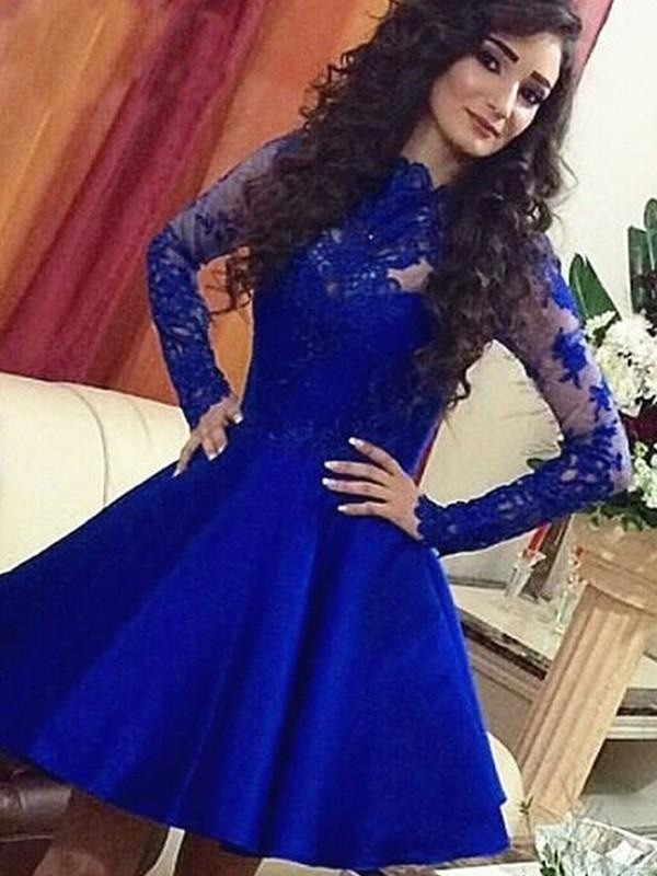 Plus Size Modest Long Sleeves Short Mermaid Prom Dress