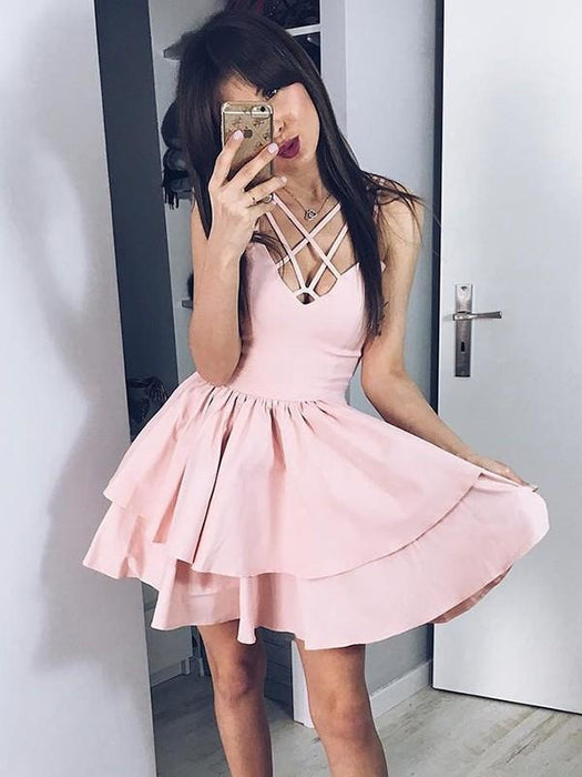 Bridelily A-Line Satin Spaghetti Straps Sleeveless With Ruffles Short/Mini Dresses - Prom Dresses