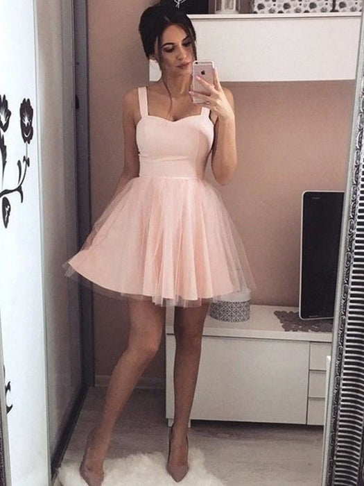 Bridelily A-Line Satin Straps Sleeveless With Ruched Short/Mini Dresses - Prom Dresses