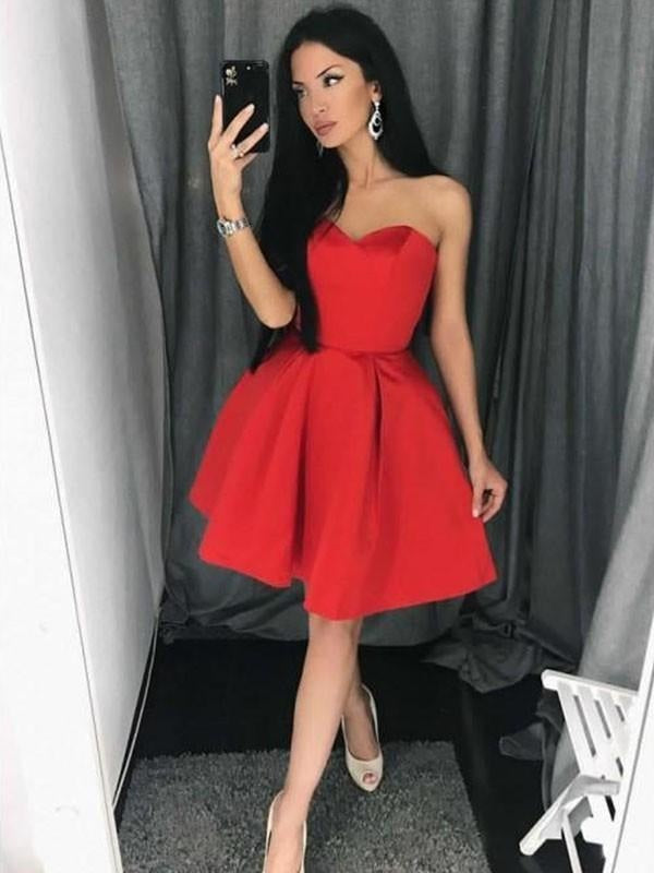 Bridelily A-Line Satin Sweetheart Sleeveless With Ruffles Short/Mini Dresses - Prom Dresses