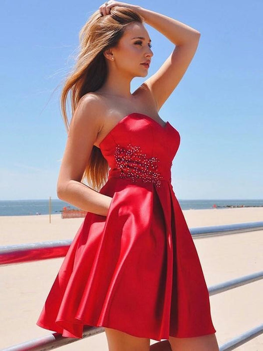 Bridelily A-Line Satin Sweetheart With Ruffles Sleeveless Short/Mini Dresses - Prom Dresses