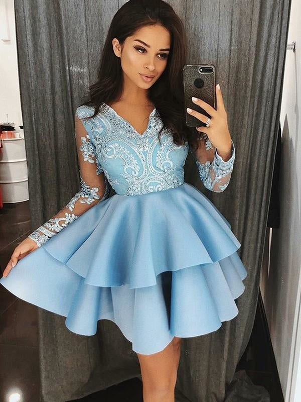 Plus Size V-neck Short Sequined Applique Mermaid Long Sleeves Prom Dress
