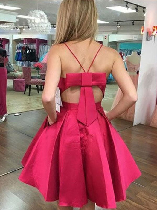 Bridelily A-Line Satin With Bowknot Spaghetti Straps Sleeveless Short/Mini Dresses - Prom Dresses
