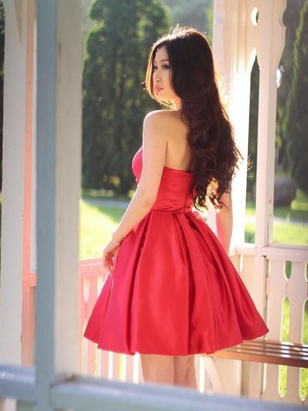 Bridelily A-Line Satin With Ruffles Sweetheart Sleeveless Short/Mini Dresses - Prom Dresses