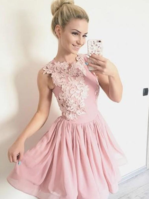 Bridelily A-Line Scoop Sleeveless Chiffon With Applique Short/Mini Dresses - Prom Dresses