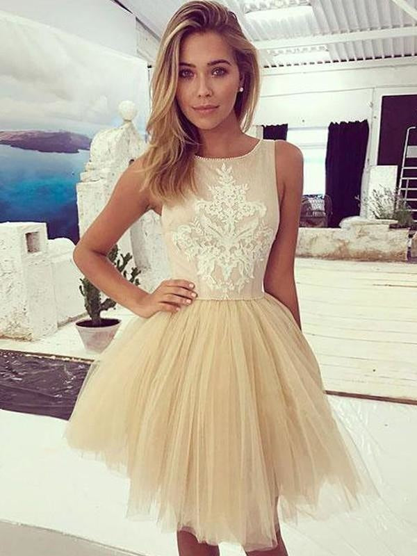 Bridelily A-Line Sleeveless Bateau Tulle With Applique Short/Mini Dresses - Prom Dresses