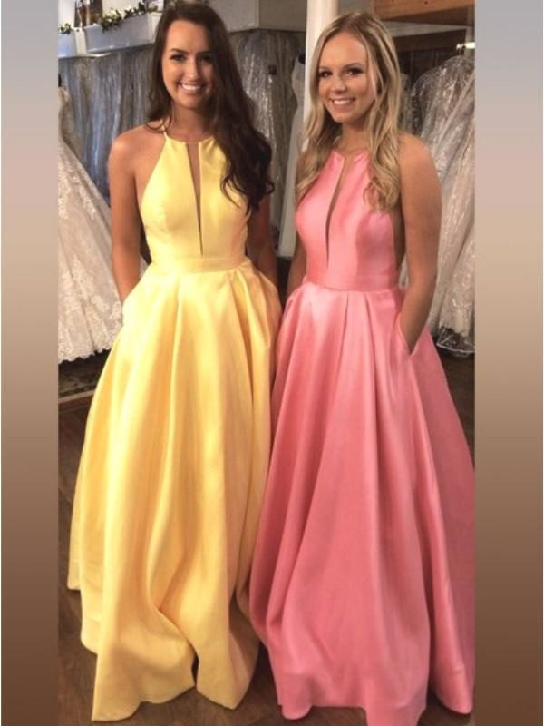 Bridelily A-Line Sleeveless Halter Sweep/Brush Train With Ruffles Satin Dresses - Prom Dresses