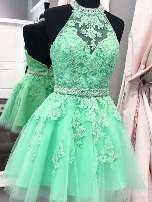 Bridelily A-Line Sleeveless Halter Tulle With Applique Short/Mini Dresses - Prom Dresses