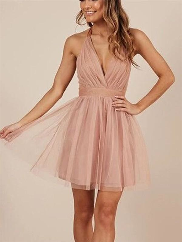 Bridelily A-Line Sleeveless Halter Tulle With Ruffles Short/Mini Dresses - Prom Dresses