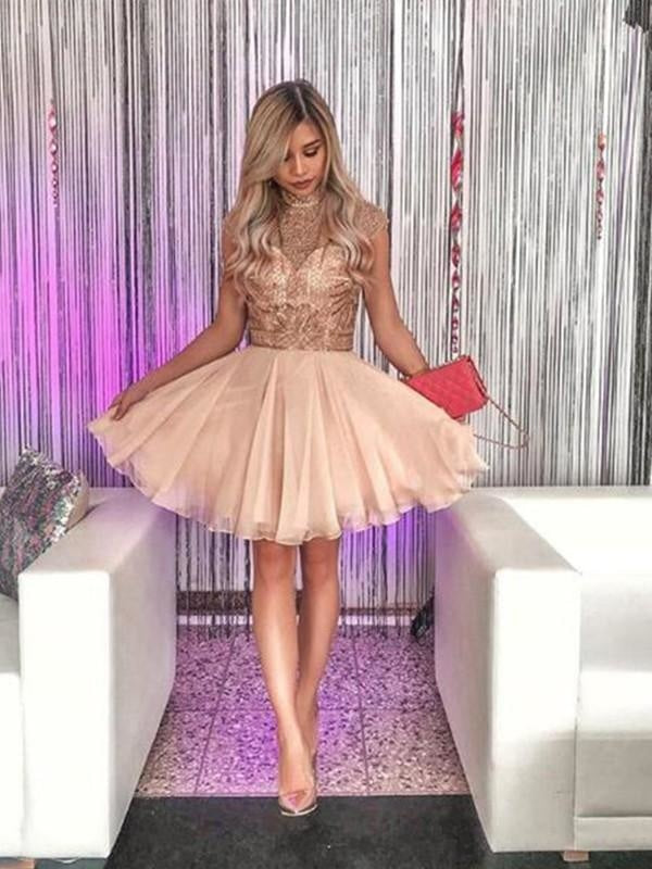 Bridelily A-Line Sleeveless High Neck Chiffon With Beading Short/Mini Dresses - Prom Dresses